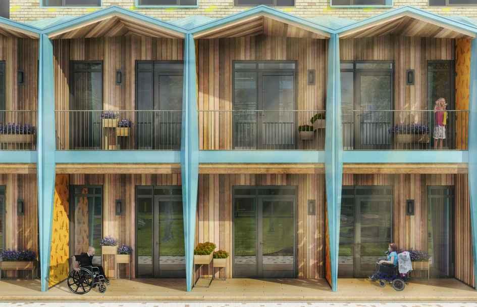 Обшитые деревом балконы отделяют друг отдруга голубые перегородки: позамыслу авторов проекта, такое разделение должно напоминать полоски цветной бумаги, изкоторой дети конструируют поделки