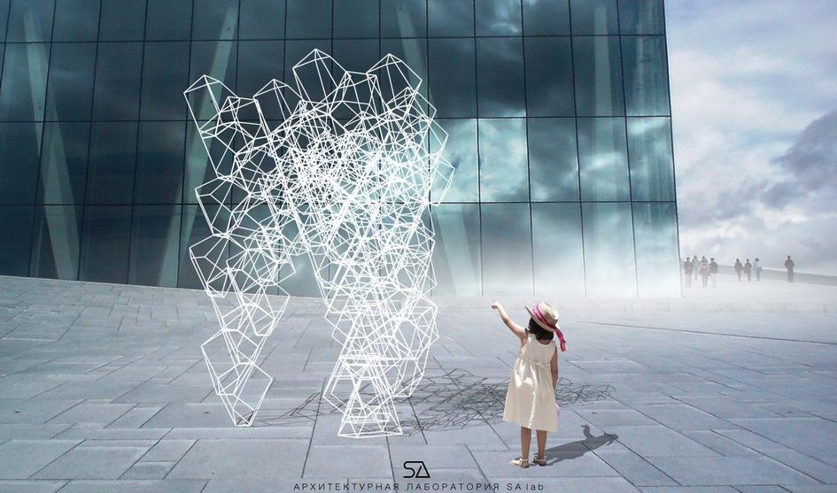 Адаптивная конструкция «Множество». Автор: SA lab  Проект «Множество» московской архитектурной лаборатории SA lab представляет собой форму площадью 4кв.м, которая полностью застраивается, образуя проницаемую конструкцию. Архитекторами были выбраны три точки опоры, приложена нагрузка ирассчитана оптимальная геометрия, обеспечивающая устойчивость конструкции. Форма является адаптивной, состоит изтипового модуля, которыйможет быть выполнен из любых материалов, увеличен ииспользован вразных объемах—отмалых архитектурных форм донесущих конструкций