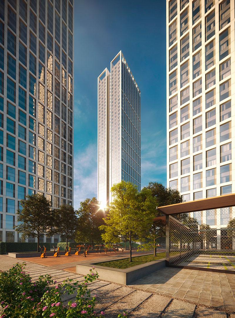 6-е место. ЖК «Небо»  Высота — 176м  ЖК «Небо» возводит девелопер Capital Group на Мичуринском проспекте, 56. Комплекс расположен в рядом с метро «Раменки» и состоит из трех небоскребов максимальной высотой 52 этажа