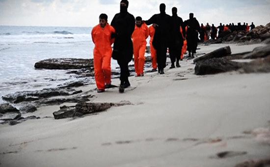 Кадр из видеозаписи с казнью 21 египтянина