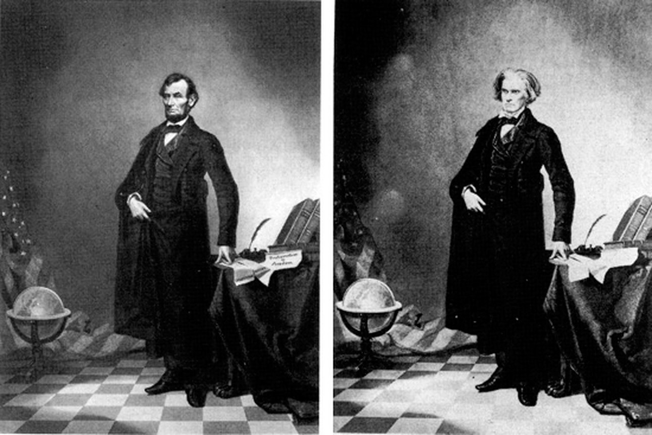 Слева— поддельный портрет Авраама Линкольна, 1865 год. Справа— оригинальный снимок Джона К. Кэлхуна