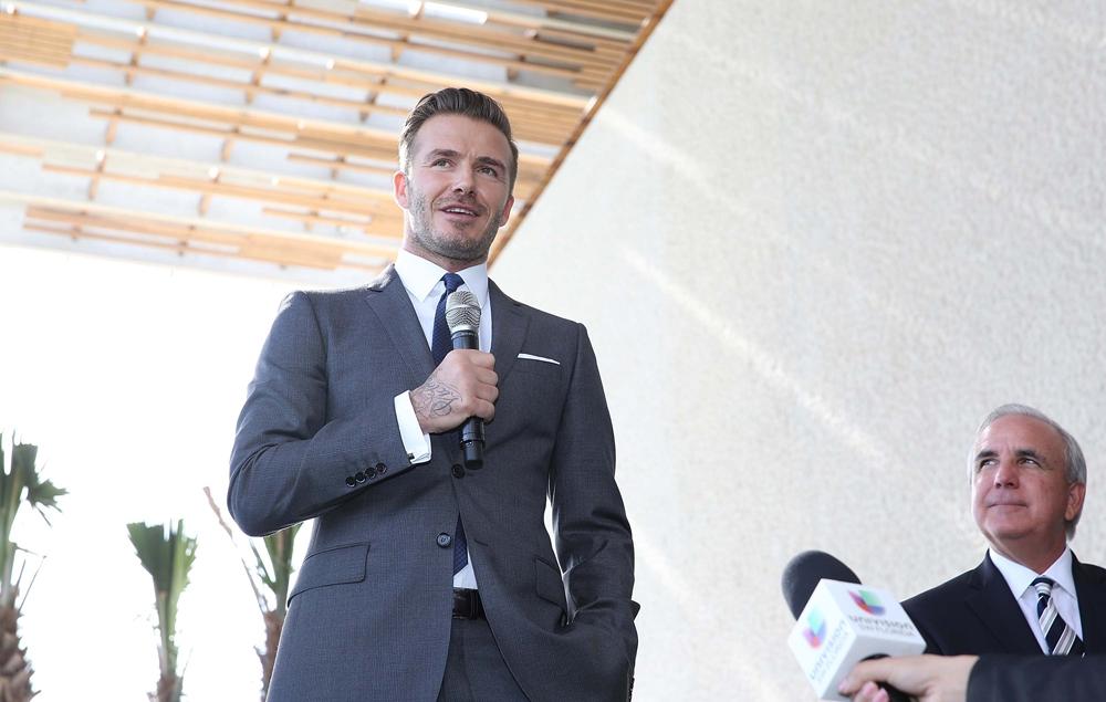Дэвид Бекхэм на презентации своего футбольного клуба в Майами