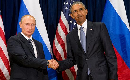 Президент России Владимир Путин ипрезидент США Барак Обама. Штаб-квартираООН, 28 сентября 2015 года