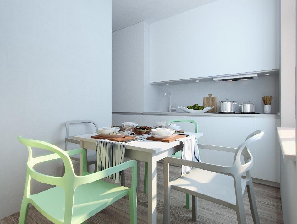 Для того чтобы зрительно увеличить пространство, дизайнер объединила кухню с гостиной