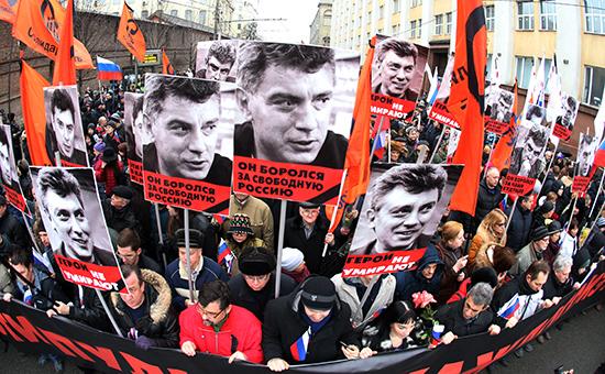 Портреты Бориса Немцова на траурном марше памяти политика, 1 марта 2015 г.