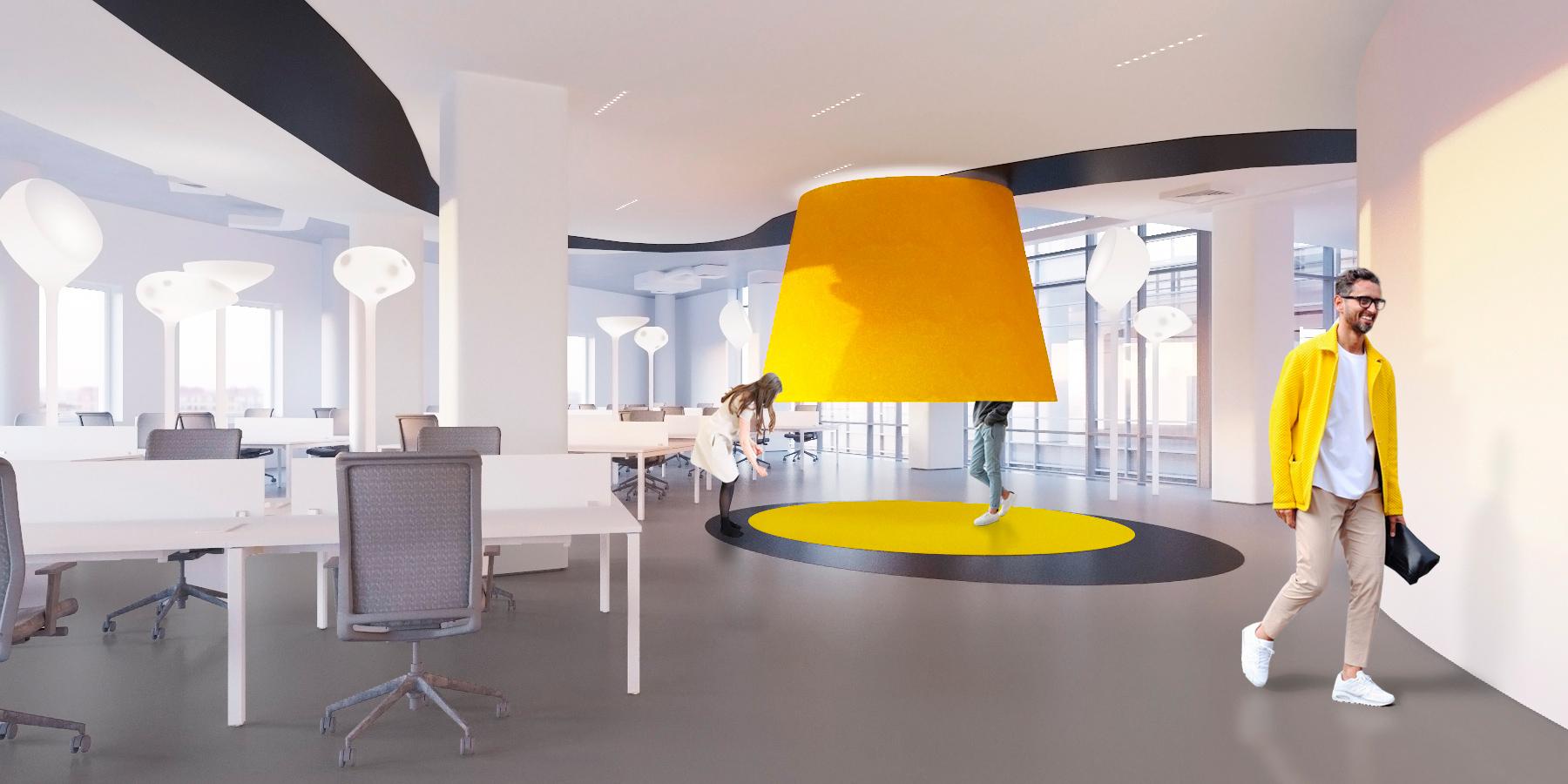 Находка дизайнеров — стендап-переговорная: рабочие встречи здесь проходят стоя под куполом