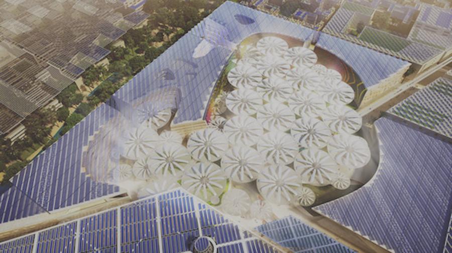 Проект «Petals from heaven» в центре Масдара— интерактивные зонтики открыты в дневное время, они защищают горожан от жары и поглощают солнечный свет, а ночью закрываются, чтобы выпустить сохраненное тепло