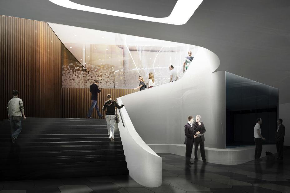 В филармонии будет оборудован зал свозможностью проведения камерных исольных концертов свместимостью до400 мест (включая неболее 80 стоячих мест) снеобходимым набором рекреационных, технологических, технических ивспомогательных помещений