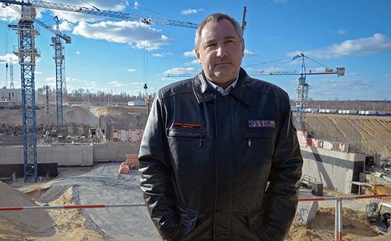 Вице-премьер РФ Дмитрий Рогозин во время визита на строящийся космодром «Восточный» вблизи поселка Углегорск в Амурской области.