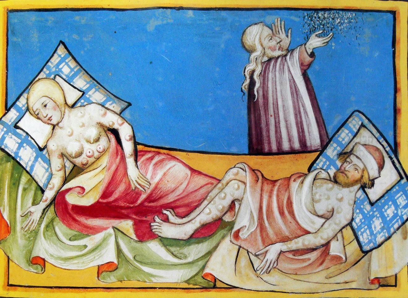 Зараженные бубонной чумой. Миниатюра из Тоггенбургской Библии, 1411 год