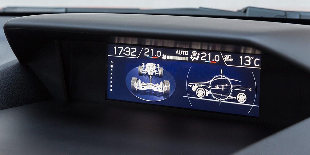 На экран под лобовым стеклом выводится индикация активных электронных ассистентов, данные борткомпьютера и показания креномера.