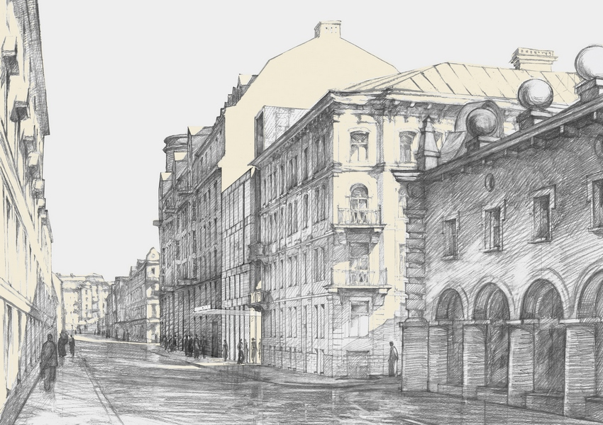 Основной архитектурной идеей нового здания является противопоставление и в то же время объединение различных контрастирующих элементов в облике и структуре здания, описал концепцию Евгений Герасимов