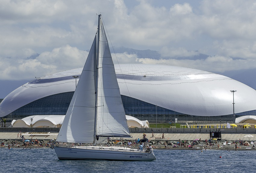 Существующий вид на Олимпийский парк и побережье Черного моря