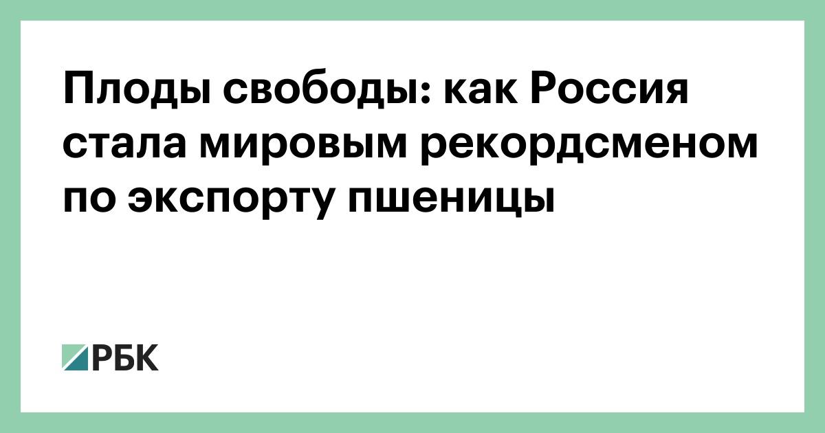 Плоды свободы: как Россия стала мировым рекордсменом по экспорту пшени