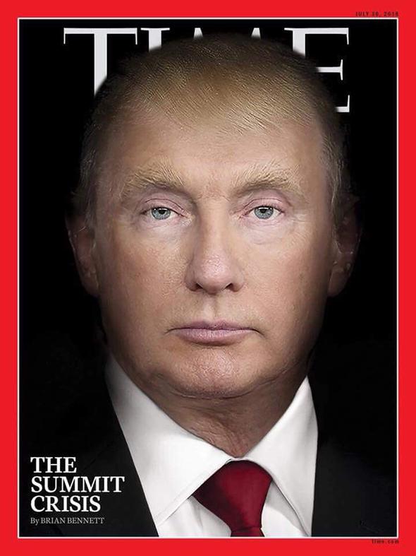 Редакциясовместила фотографии Дональда Трампа и Владимира Путина и поместила изображение на обложку нового выпуска журнала. Главной темой номера, который выйдет 30 июля, станет материал корреспондента Timeв Белом доме Брайана Беннета под заголовком «Кризис саммита»