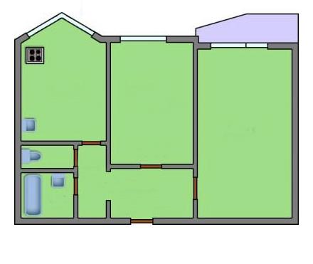 Исходная планировка двухкомнатной квартиры