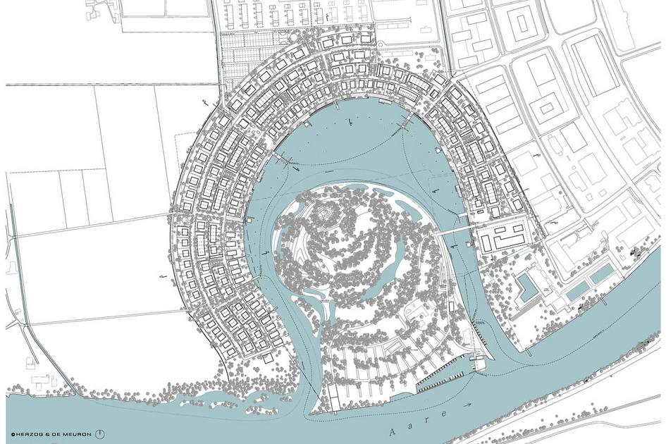 Вассерштадт Золотурн, Швейцария  Так выглядит схема поканесуществующего города отHerzog & de Meuron. Остров вцентре останется зеленой зоной из-заэкологических ограничений, принятых вкантоне. К западу отгорода расположена природоохранная зона: помнению Герцога иде Мюрона, такое соседство обеспечит местным жителям «высочайший уровень жизни». Авторы обещают предоставить каждому обитателю Вассерштадт Золотурна беспрепятственный доступ кводе