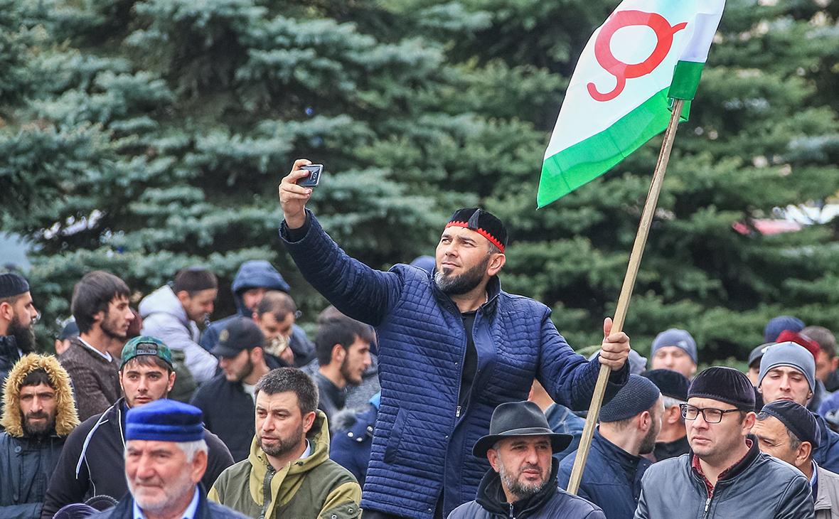 Митингпротив соглашения о границе с Чечней, 2018 год.