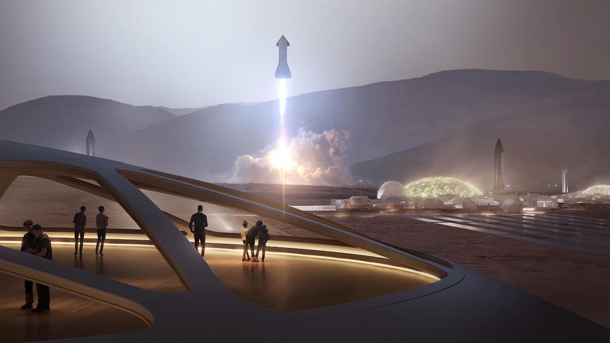 Корабли Starship обеспечат доступную доставку значительного количества грузов и людей, необходимых для строительства лунных баз и городов на Марсе. Рендер