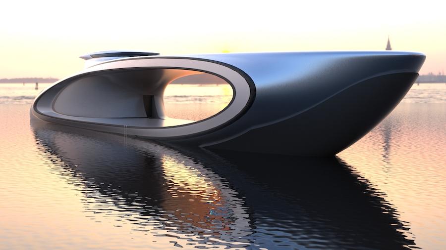 Полая центральная часть, гладкая отделка и аэродинамическая структура придают яхте футуристический вид.