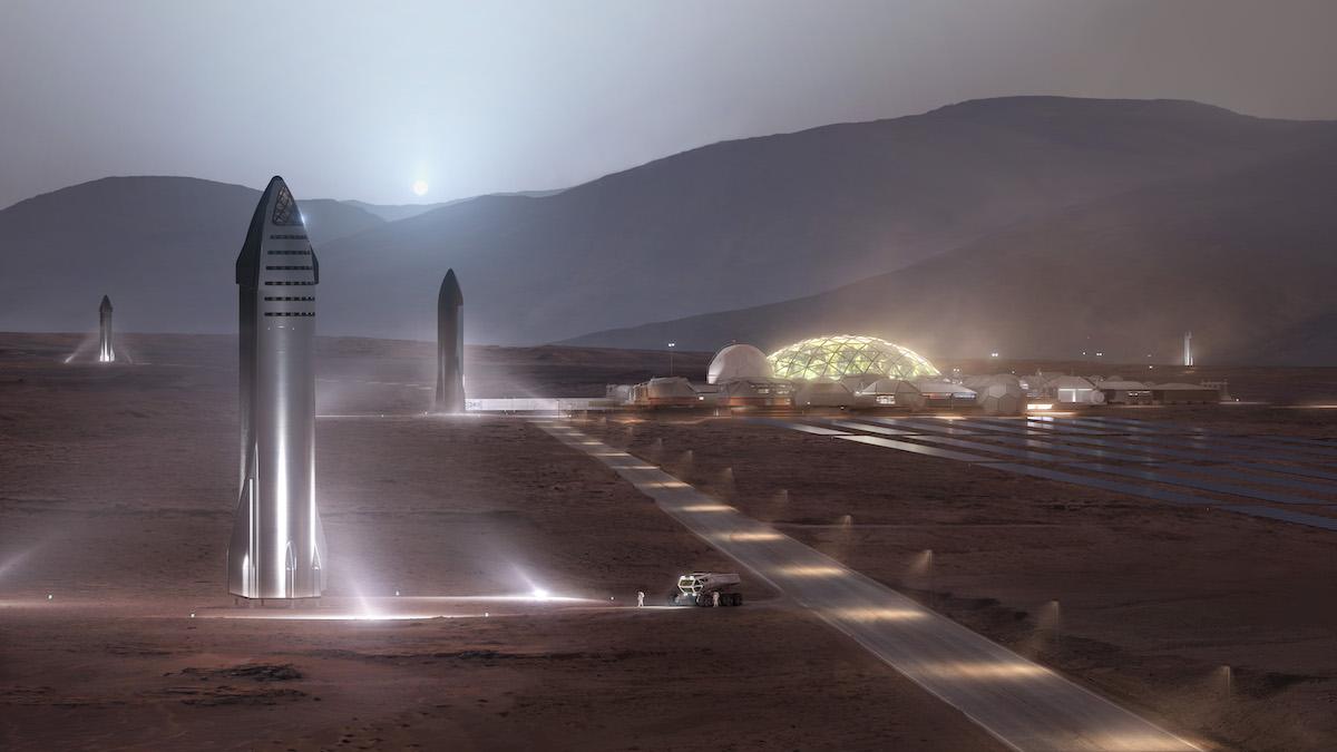 SpaceX Илона Маска уверяет, что многоразовый корабль Starship с экипажем до ста человек сможет достигать почти любой точки Солнечной системы. Рендер