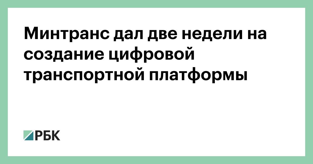 Минтранс дал две недели на создание цифровой транспортной платформы :: Бизнес :: РБК - ElkNews.ru