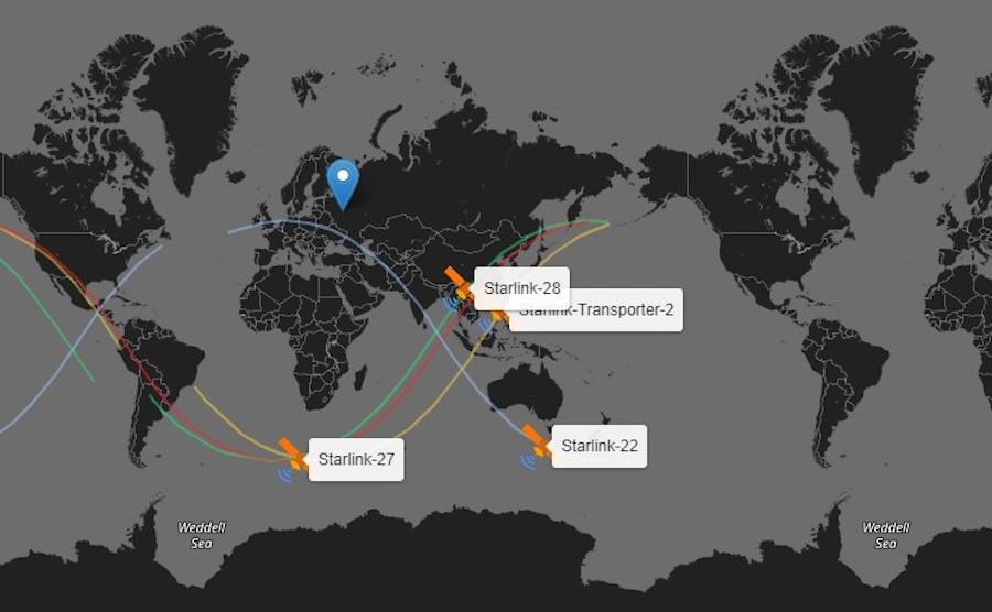 2D-карта со спутниками и траекторией их движения