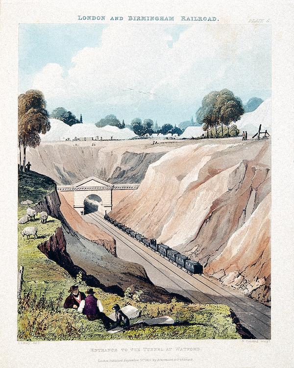 Вход в тоннель в Уотфорде. Раскрашенная гравюра. Томас Талбот Бери, 1837 год