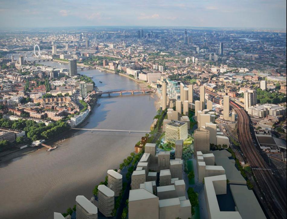 Посольство США возводится в районе Nine Elms — промзоне на южном берегу Темзы, в которой сейчас ведется активное строительство