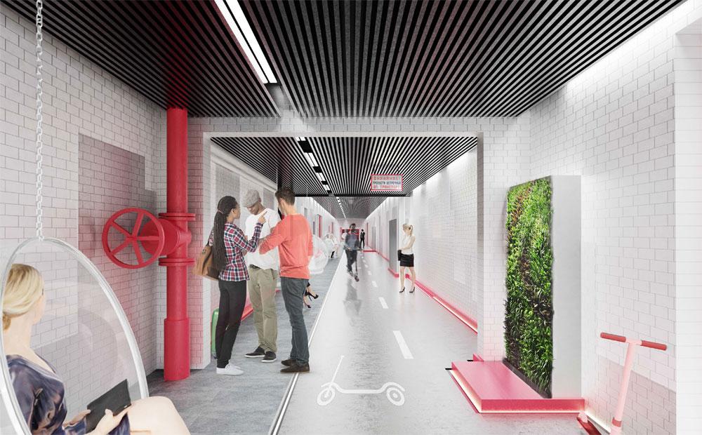 Предлагаемый дизайн интерьеров базируется напереносе ключевых принципов городской организации пространства винтерьер центра «Правда»