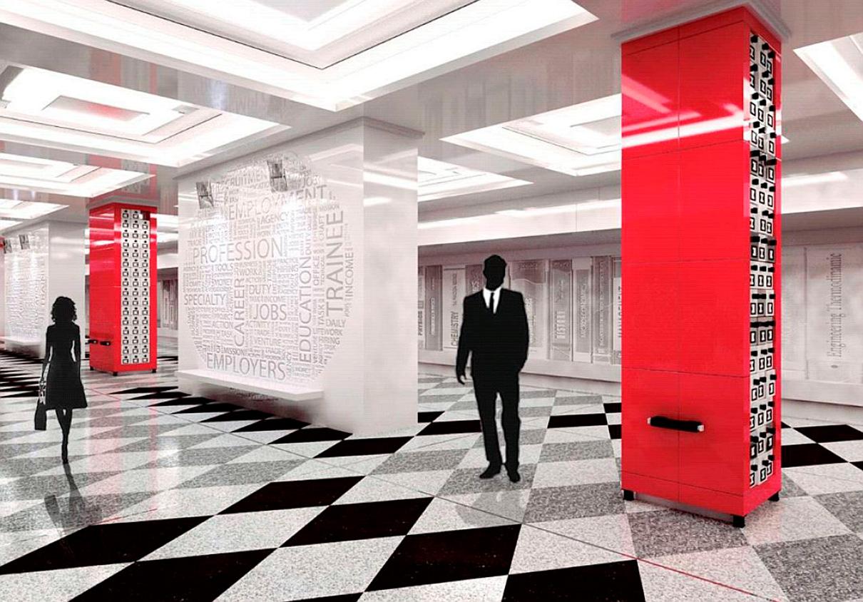 Станция метро «Рассказовка» превратится в настоящую библиотеку. Пассажиры с помощью QR-кода смогут на платформе скачать любимые литературные произведения. Станция совместит в себе стиль ар-деко и пространство классического читального зала общественной библиотеки. Интерьеры станции будут выполнены в однотонной гамме, колонны — в насыщенно алом цвете, а пол станции — в виде ромбовидного шахматного рисунка