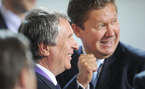 Глава «Роснефти» Игорь Сечин (слева) и глава «Газпрома» Алексей Миллер