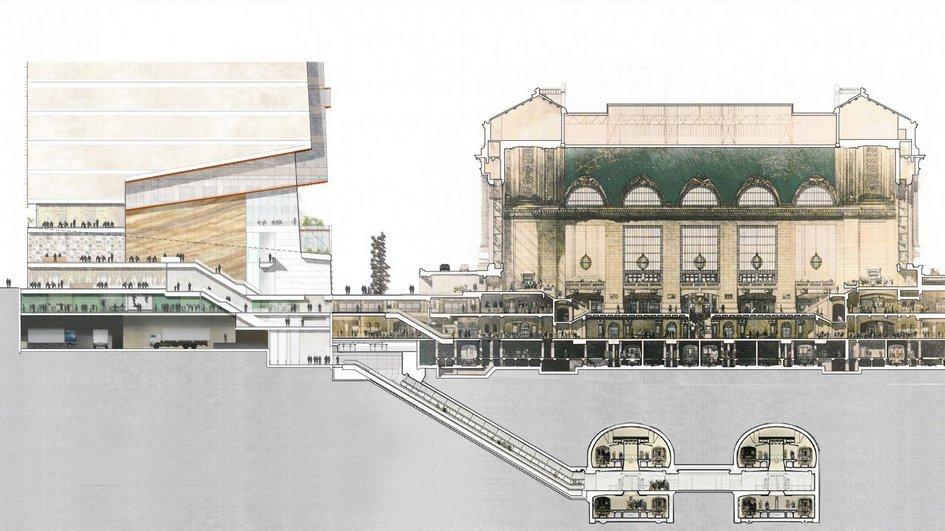 Девелопер интегрирует One Vanderbilt странспортной системой Нью-Йорка: черезподземные ярусы небоскреба можно будет невыходя наулицу попасть нажелезнодорожный вокзал (на снимке справа) ивметро