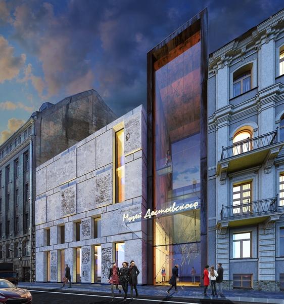 Первый этаж нового музейного комплекса полностью отдадут под литературное кафе, книжный магазин и театр на 118 мест