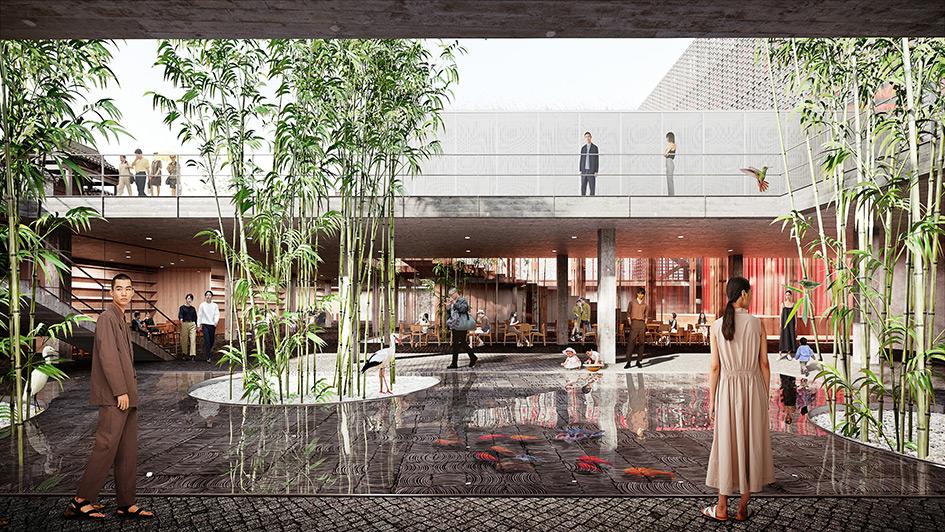 В проекте использованы характерные для Китая материалы — дерево, бетон, для озеленения — бамбук, предметы декора — яркие фонарики