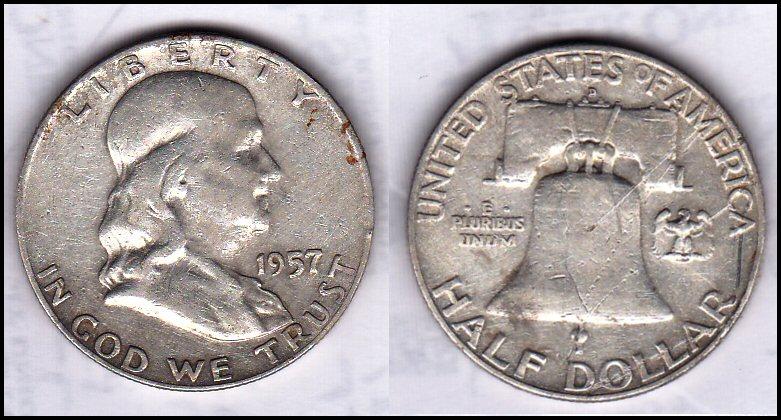 Серебряная монетка номиналом $0,5