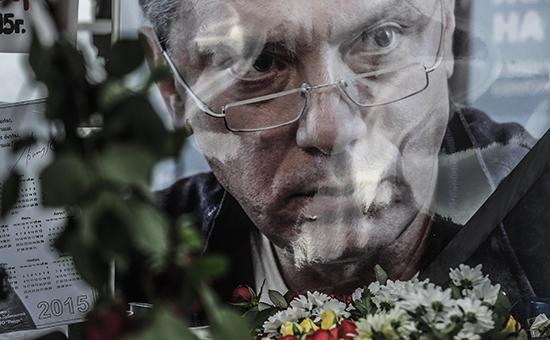Портрет Бориса Немцова на траурной акции в память о политике