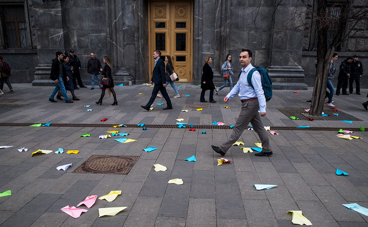 Акция против блокировки Telegram в Москве