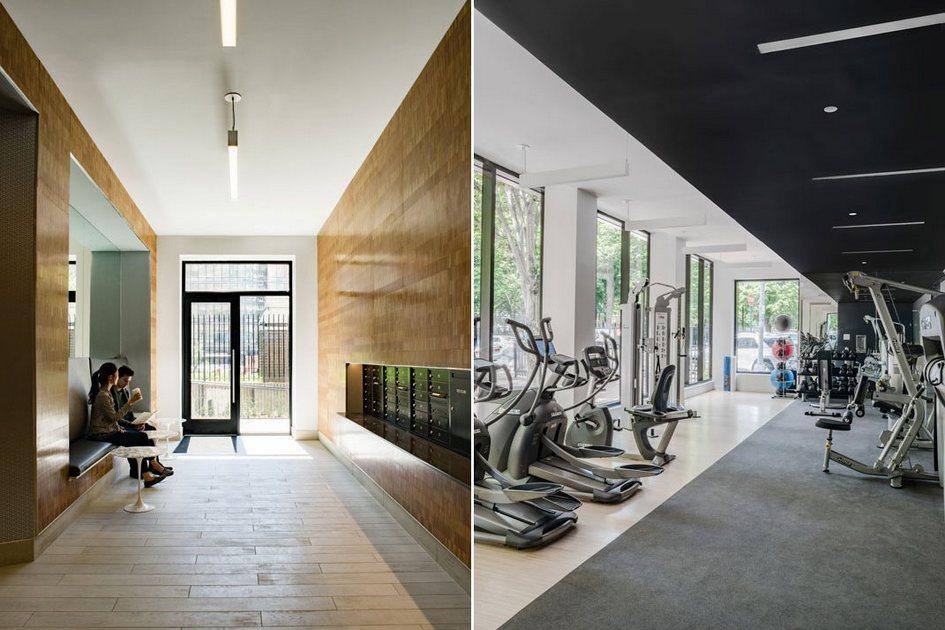 На первом этаже дома оборудован тренажерный зал дляжильцов; вподвале обустроена комната хранения велосипедов