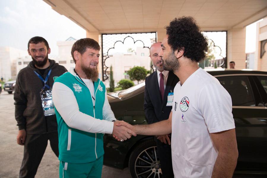 Глава Чечни Рамзан Кадыров и игрок сборной Египта Мохамед Салах