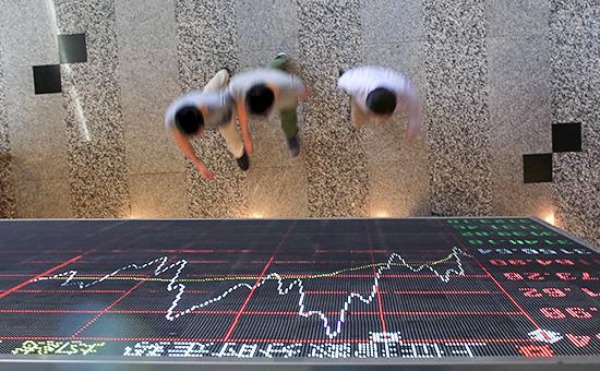 Информационное таблона Шанхайской бирже