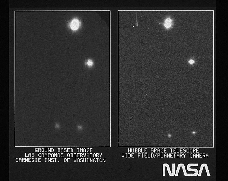 Слева— снимок, сделанный из обсерватории Лас Кампанас, Чили. Справа— часть первого изображения «Хаббла»