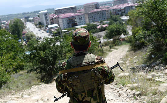 Вид на город Цхинвал в Южной Осетии