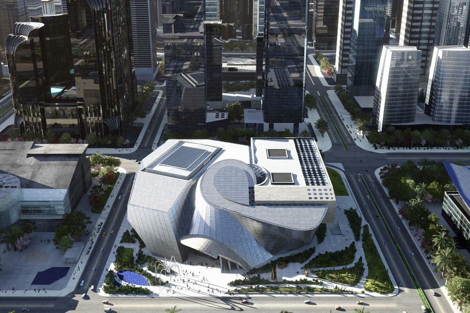 Архитектурную концепцию здания разработало австрийское бюро Coop Himmelb(l)au. Заказчиком выступили городские власти Шэньчжэня