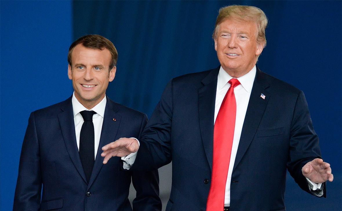 Эммануэль Макрон и Дональд Трамп (справа)