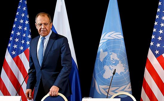 Министр иностранных дел РФ Сергей Лавров напереговорах повопросам урегулирования сирийского конфликта