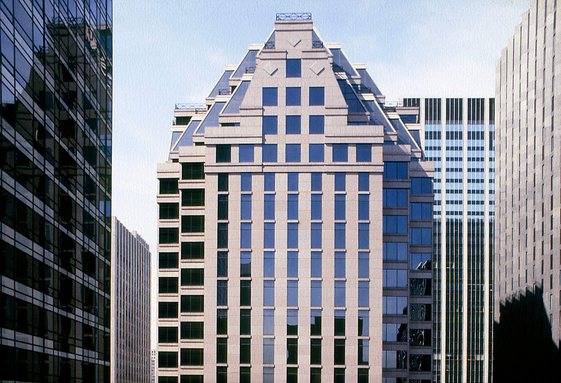 Тридцатиэтажный офис Deutsche Bank вНью-Йорке площадью 63тыс.кв. м был построен в1988 году. Башня вписывается вокружающее пространство, носохраняет свою индивидуальность, подчеркивается настранице проекта. Снаружи стены небоскреба отделаны серым гранитом, внутри—розовым гранитом итемным зеркальным стеклом