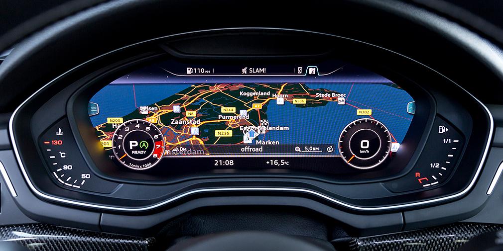 На 12,3-дюймовый TFT-дисплей может выводиться практически вся необходимая водителю информация, включая карту навигации
