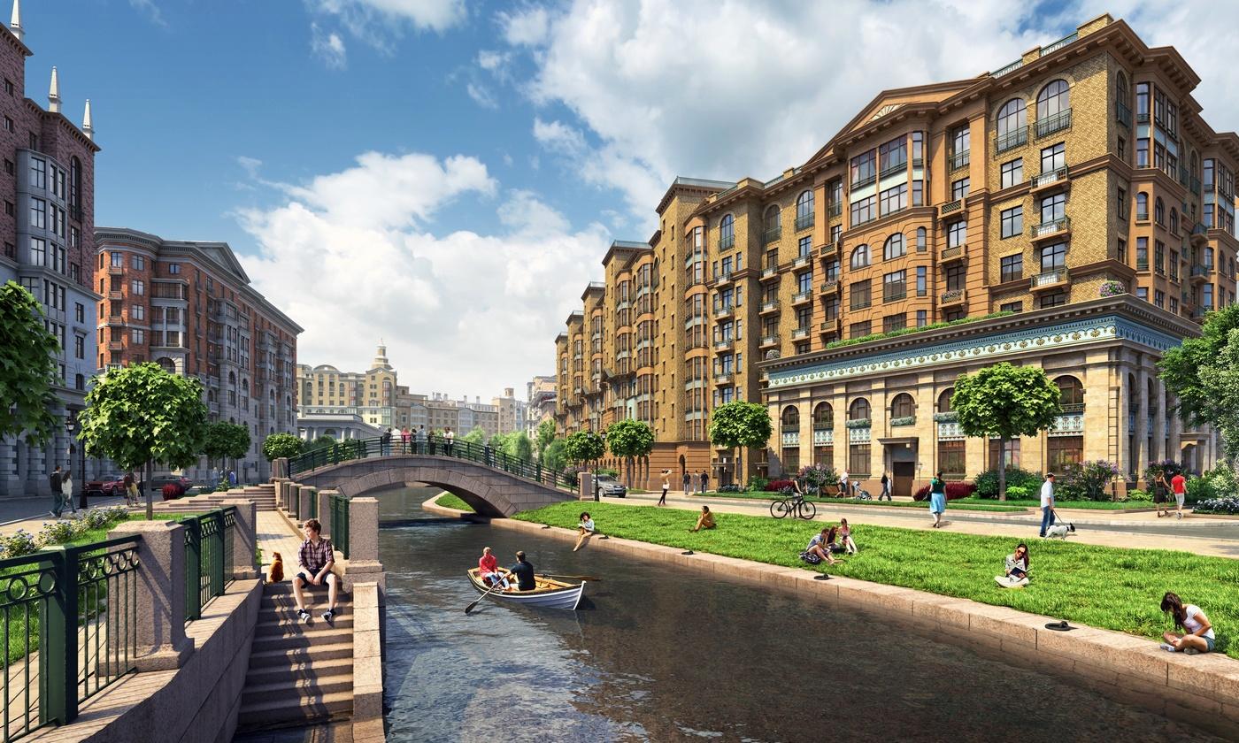 Набережные искусственного канала будут разными: наодних участках архитекторы предусмотрели классические гранитные берега, надругих—зеленые лужайки илицелые рощи