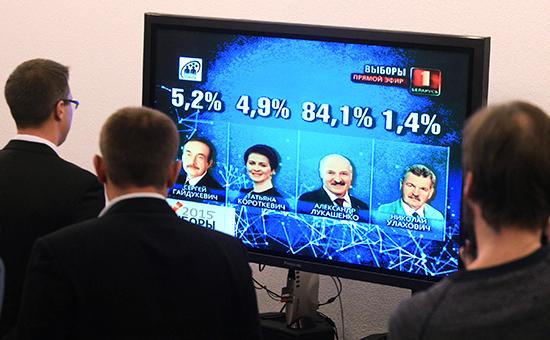 Предварительные итоги голосования навыборах президента Белоруссии намониторе вИнформационном центре ЦИК